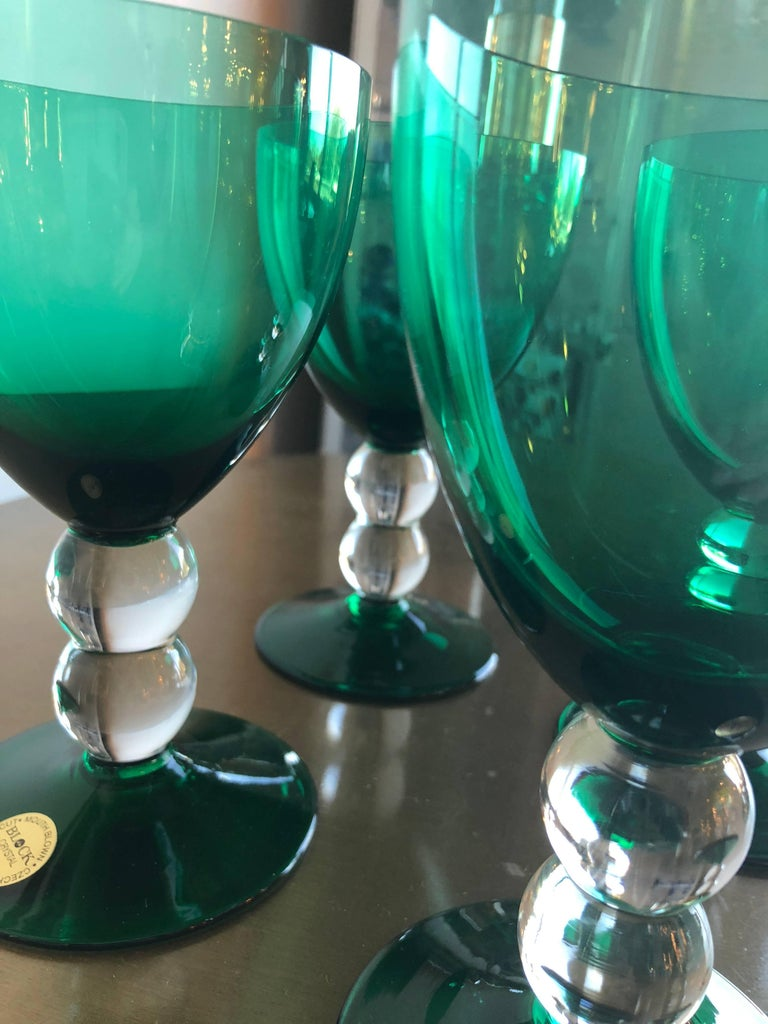20th Century Emerald Green Set of 4 Handcut / Mouth Blown Goblets by