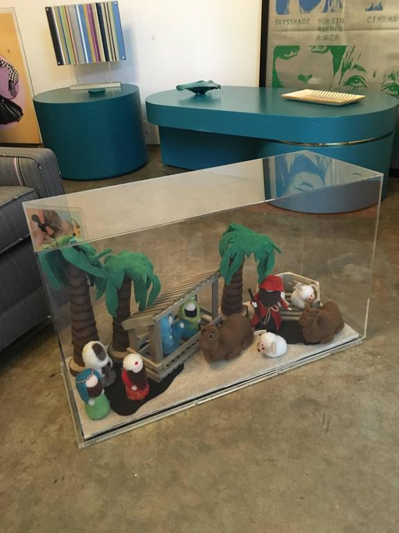 Decorative Art Felt Nativity Scene Enclosed in Lucite by AMK for Patricia Kagan For Sale 1