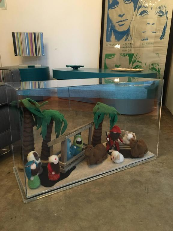 Decorative Art Felt Nativity Scene Enclosed in Lucite by AMK for Patricia Kagan For Sale 2