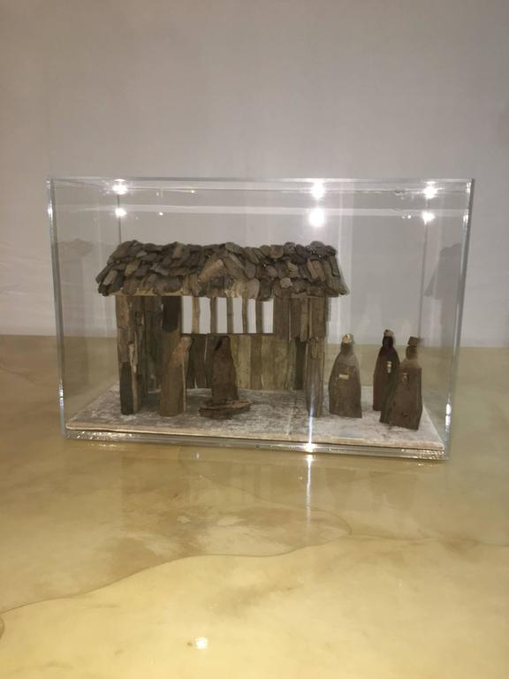 "Mrs. PK & Oz is thrilled to debut our very own Lucite objet D'art decorative driftwood and Lucite ""Nativity Scene"". We create these fabulous pieces by using interesting objects and by choosing color and subject matter with an intention"