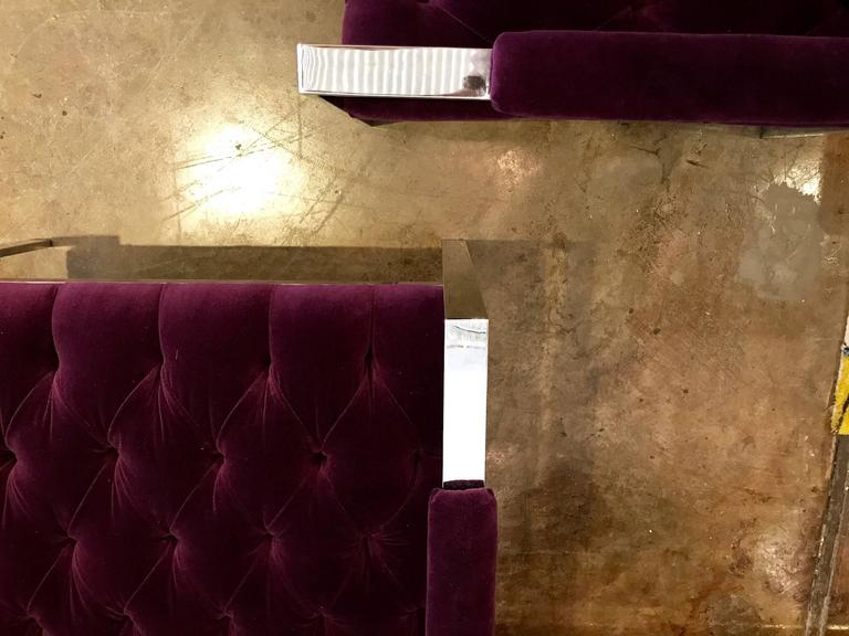 Pair of Erwin-Lambeth Chrome and New Deep Purple Velvet Tufted Arm Lounge Chairs For Sale 5