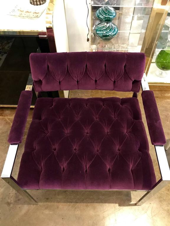 Pair of Erwin-Lambeth Chrome and New Deep Purple Velvet Tufted Arm Lounge Chairs For Sale 4