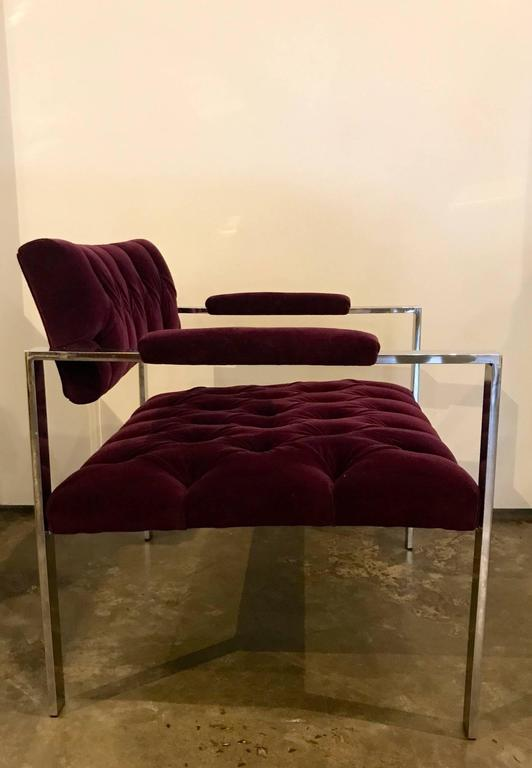 Pair of Erwin-Lambeth Chrome and New Deep Purple Velvet Tufted Arm Lounge Chairs For Sale 6