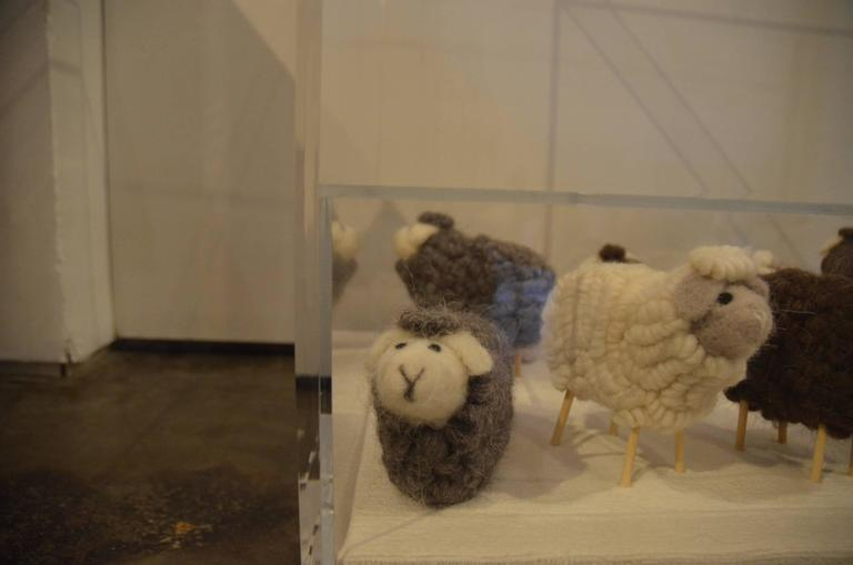 American Lucite Object d'art Wooly Sheep Bedside or Side Table by AMK for Patricia Kagan For Sale