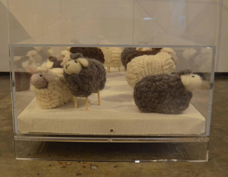 Lucite Object d'art Wooly Sheep Bedside or Side Table by AMK for Patricia Kagan For Sale 1
