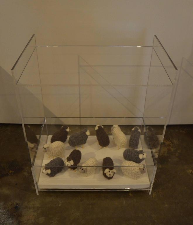 Lucite Object d'art Wooly Sheep Bedside or Side Table by AMK for Patricia Kagan For Sale 2