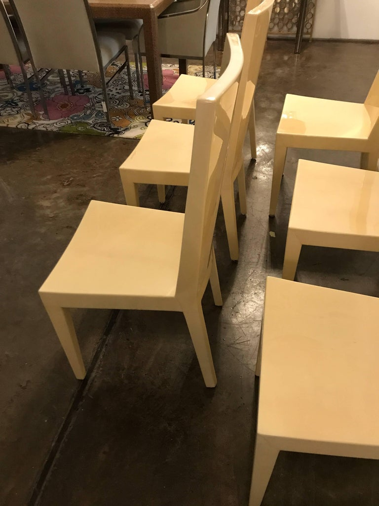 American S/6 Mid-Century Modern Carl Karl Springer Style Parchment JMF Side Dining Chairs For Sale