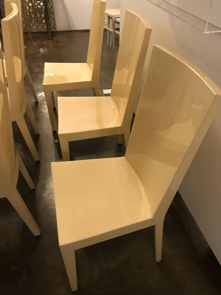 Lacquered S/6 Mid-Century Modern Carl Karl Springer Style Parchment JMF Side Dining Chairs For Sale