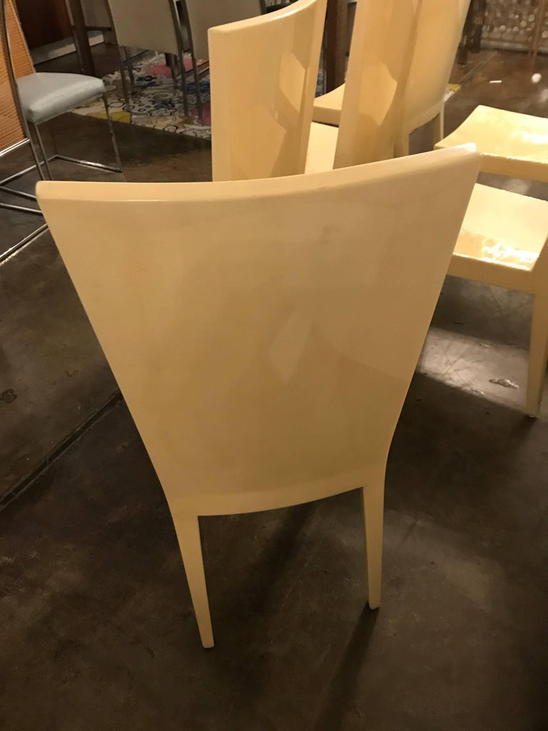 Wood S/6 Mid-Century Modern Carl Karl Springer Style Parchment JMF Side Dining Chairs For Sale