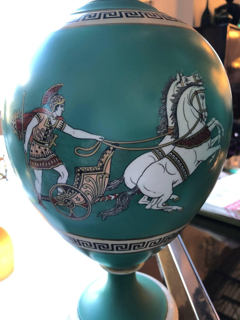 Offered is a pair of signed F & R Pratt Earthenware Grecian/Roman themed Greek Key Vases / Urns. F & R Pratt, Felix Edward Pratt & Richard Pratt, was founded in the early 19th century and the company was to become an important manufacturer of