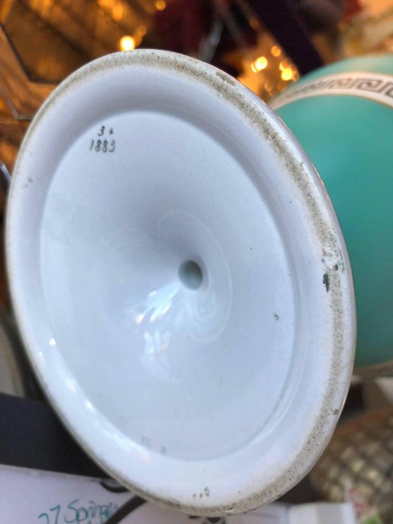 Porcelain Pair of Signed F & R Pratt Earthenware Grecian/Roman Themed Greek Key Vases For Sale