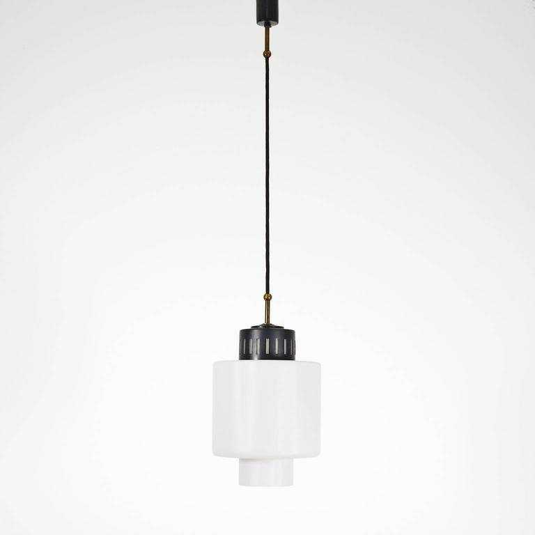 stilnovo glass and lacquered aluminum pendant for sale at