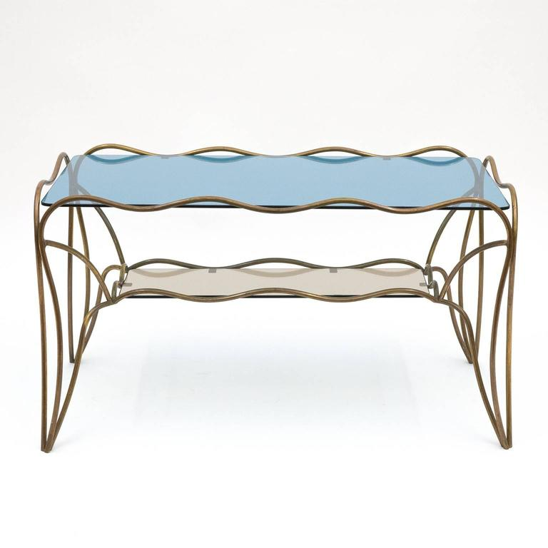 Unique Italian Brass And Colored Glass Cocktail Table 1950s For Sale At 1stdibs