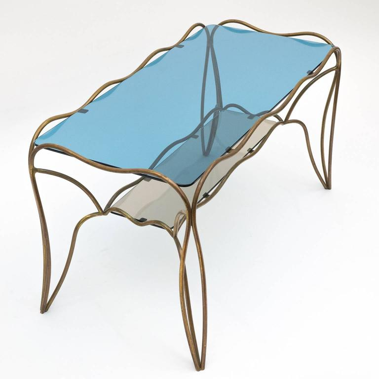 Unique Italian Brass and Colored Glass Cocktail Table, 1950s 10