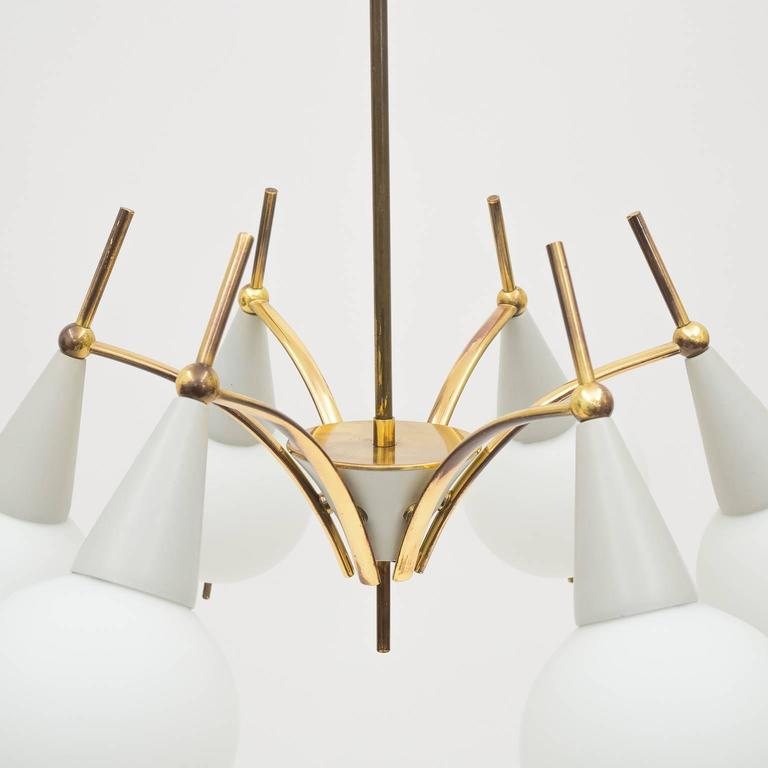Mid-Century Modern Italian Brass and Satin Glass Chandelier in the style of Angelo Lelii, 1950s For Sale