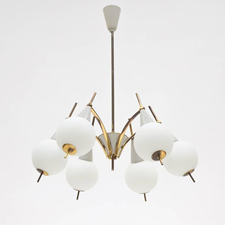 Beautiful Italian brass and glass Sputnik chandelier from the 1950s in the style of Angelo Lelli. Wonderful original condition with only minimal wear to the original 'dove grey' lacquered parts and a lovely 60+ year old patina on the brass. Six