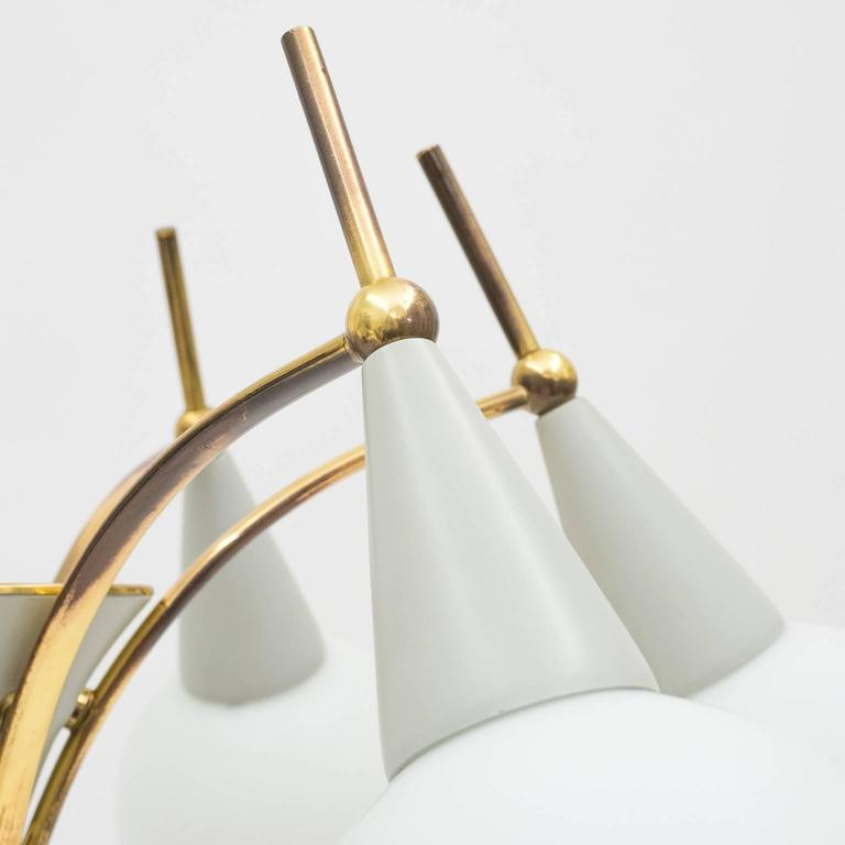 Mid-20th Century Italian Brass and Satin Glass Chandelier in the style of Angelo Lelii, 1950s For Sale