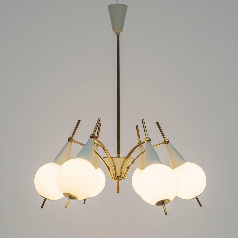 Italian Brass and Satin Glass Chandelier in the style of Angelo Lelii, 1950s For Sale 2
