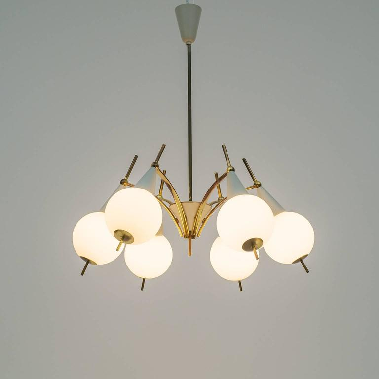 Italian Brass and Satin Glass Chandelier in the style of Angelo Lelii, 1950s For Sale 3