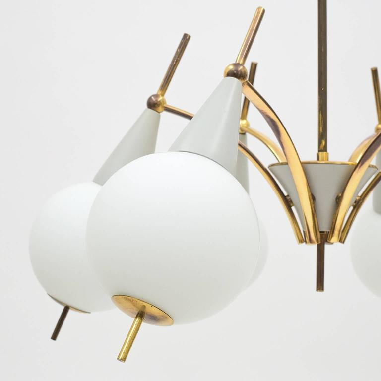 Frosted Italian Brass and Satin Glass Chandelier in the style of Angelo Lelii, 1950s For Sale