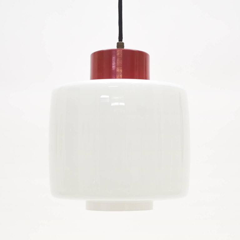 Mid-Century Modern Stilnovo Glass and Lacquered Aluminum Pendant, 1950s For Sale