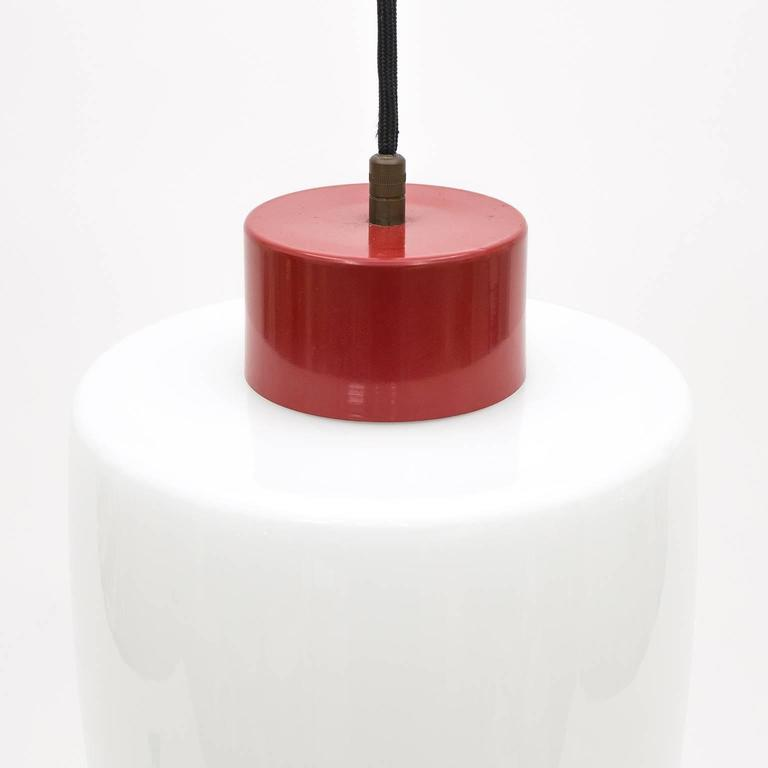 Italian Stilnovo Glass and Lacquered Aluminum Pendant, 1950s For Sale