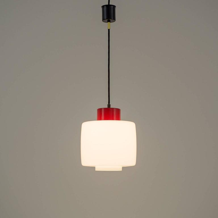 Stilnovo Glass and Lacquered Aluminum Pendant, 1950s For Sale 2