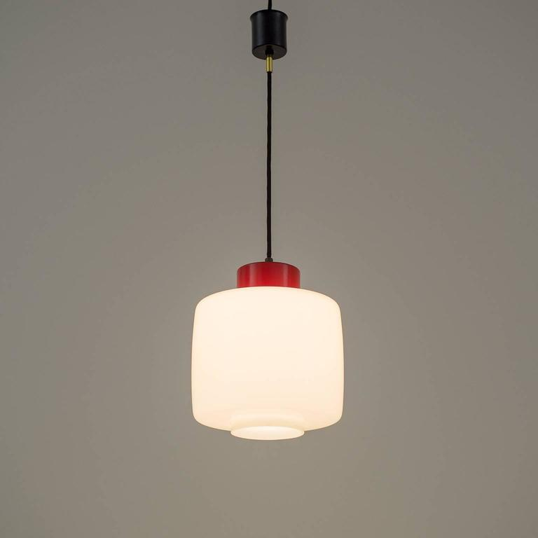 Stilnovo Glass and Lacquered Aluminum Pendant, 1950s For Sale 3