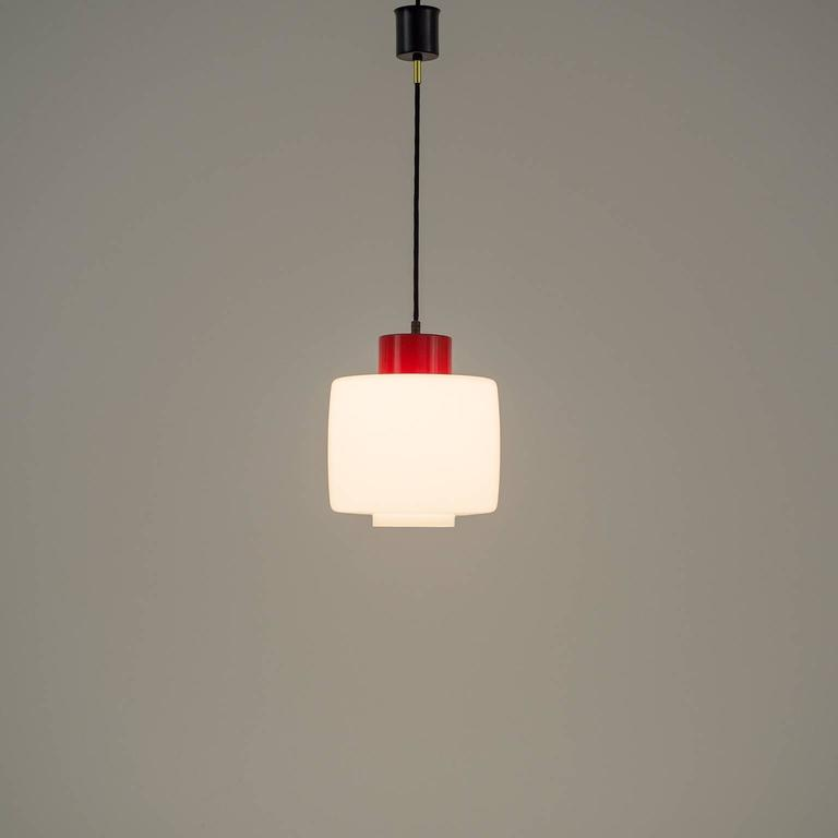 Stilnovo Glass and Lacquered Aluminum Pendant, 1950s For Sale 4