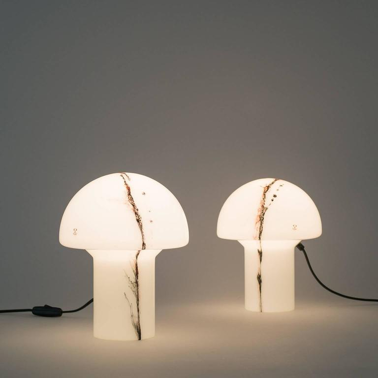 1970s Glass Mushroom Table Lamps by Peill & Putzler For Sale 3