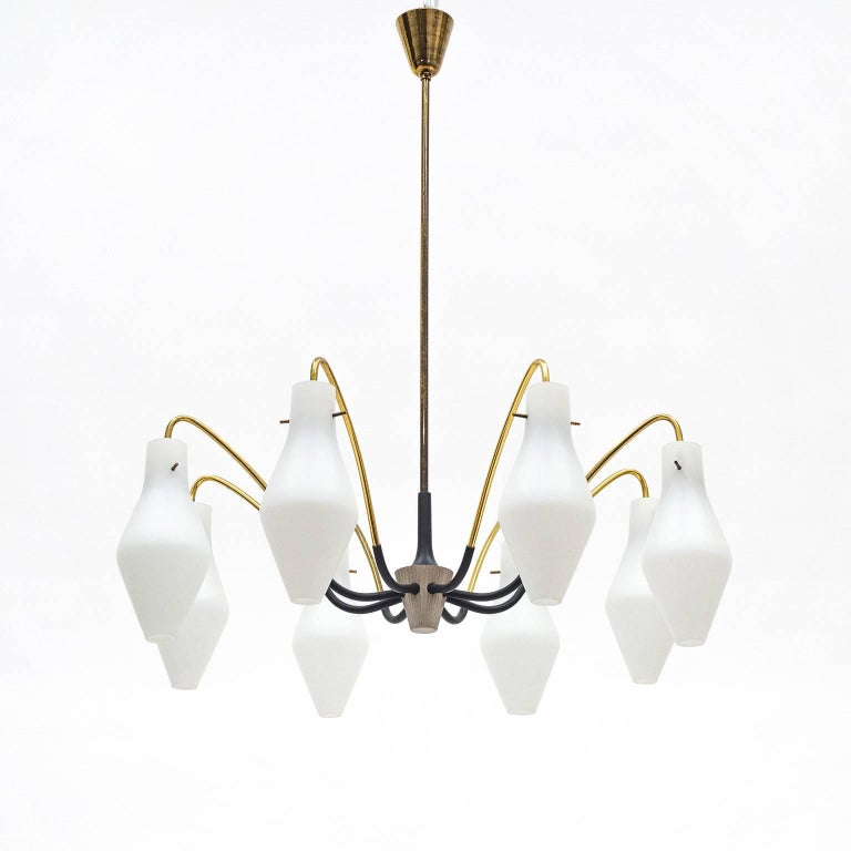 Elegant modernist midcentury 'spider' chandelier. Eight brass arms, partially lacquered, are attached to a slender, ribbed central piece and sensuously curve out to vase shaped satin glass difusers. Each glass houses an original E14 brass socket