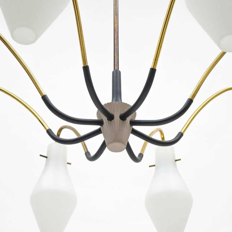 Eight-Arm Brass and Satin Glass Spider Chandelier, 1950s In Good Condition For Sale In Vienna, AT