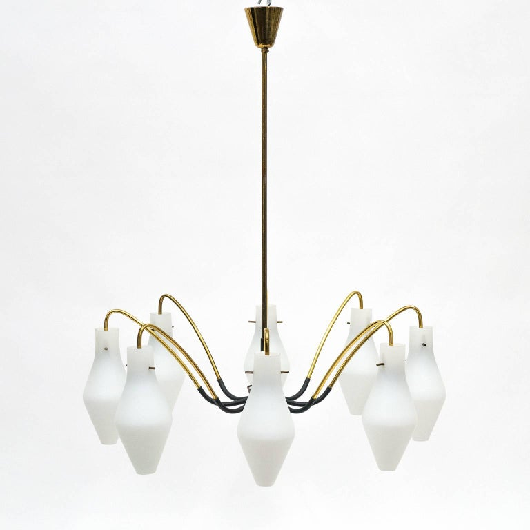 Mid-Century Modern Eight-Arm Brass and Satin Glass Spider Chandelier, 1950s For Sale