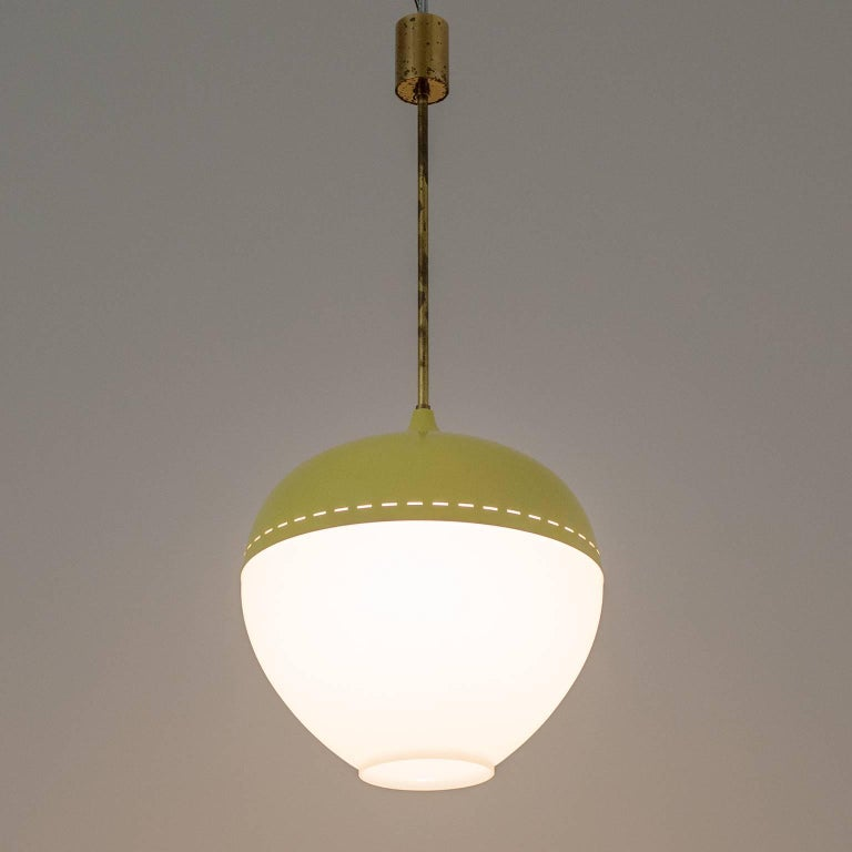 Stilnovo Satin Glass and Lacquered Pendant, 1950s For Sale 1