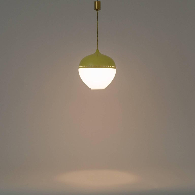 Stilnovo Satin Glass and Lacquered Pendant, 1950s For Sale 3