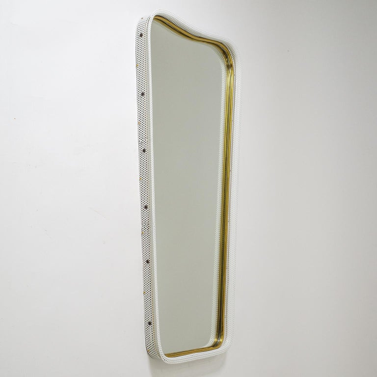 Brass and Pierced Mirror, 1950s For Sale 2