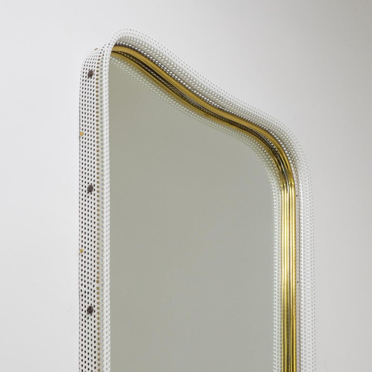 German Brass and Pierced Mirror, 1950s For Sale