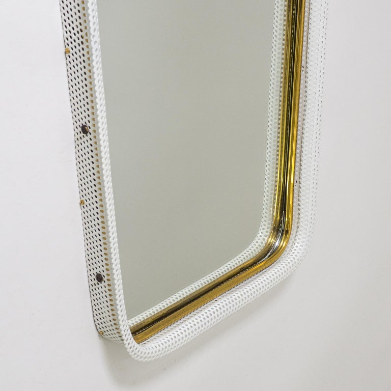 Lacquered Brass and Pierced Mirror, 1950s For Sale