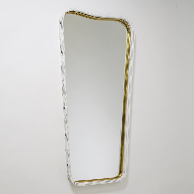Mid-Century Modern Brass and Pierced Mirror, 1950s For Sale