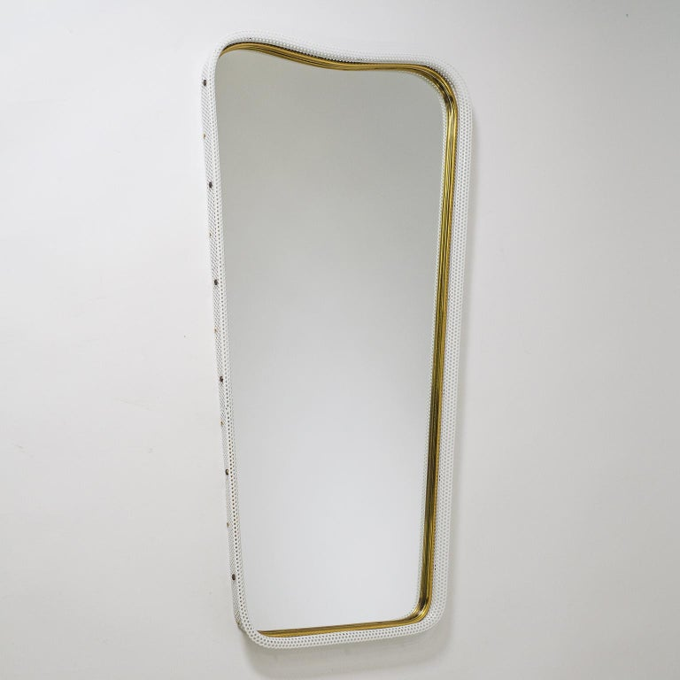 Brass and Pierced Mirror, 1950s For Sale 3