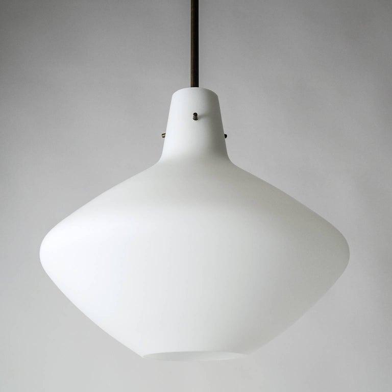 Mid-20th Century Stilnovo Satin Glass Pendant, 1950s For Sale