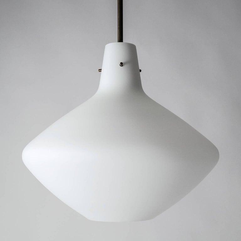 Italian Stilnovo Satin Glass Pendant, 1950s For Sale
