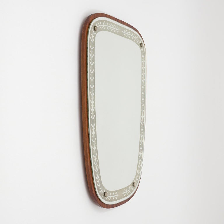 Mid-20th Century 1940s Swedish Art Deco Mirror, Etched Glass and Mahogany For Sale