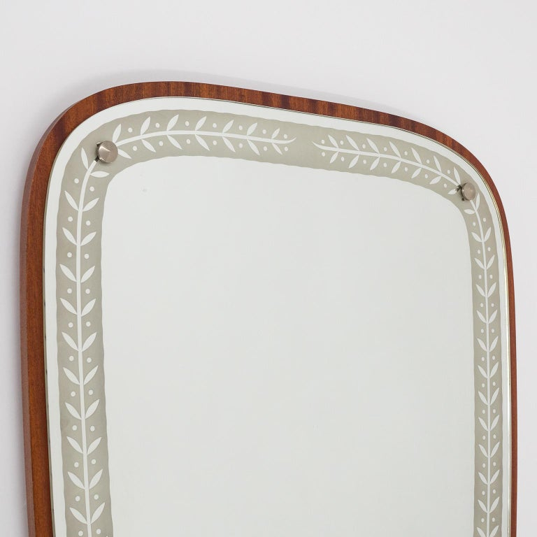 Nickel 1940s Swedish Art Deco Mirror, Etched Glass and Mahogany For Sale