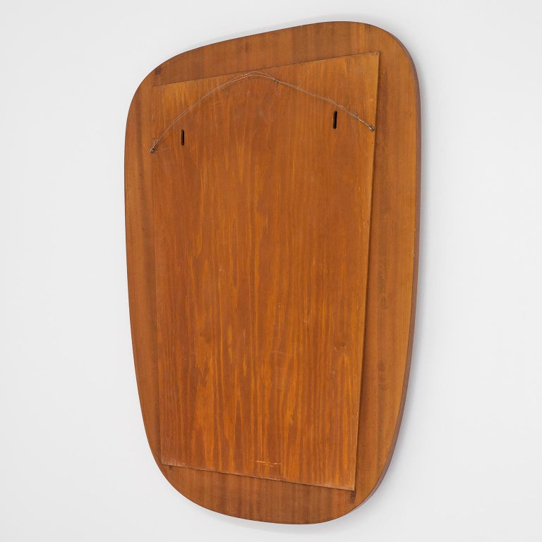 1940s Swedish Art Deco Mirror, Etched Glass and Mahogany For Sale 5