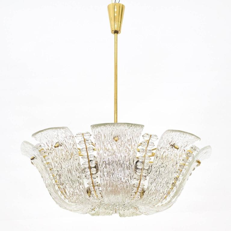 Large Textured and Crystal Glass Chandelier by J.T. Kalmar 2