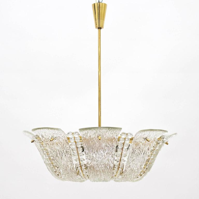 Large Textured and Crystal Glass Chandelier by J.T. Kalmar 3