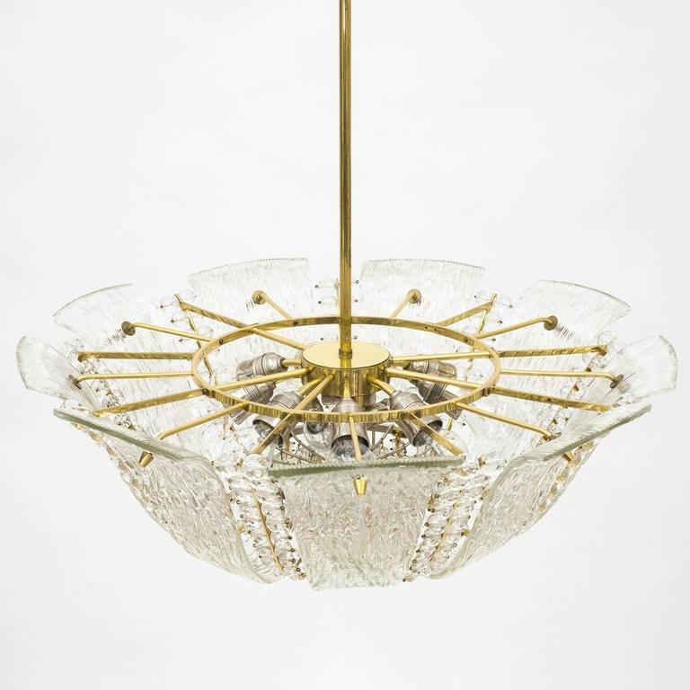 Large Textured and Crystal Glass Chandelier by J.T. Kalmar 4