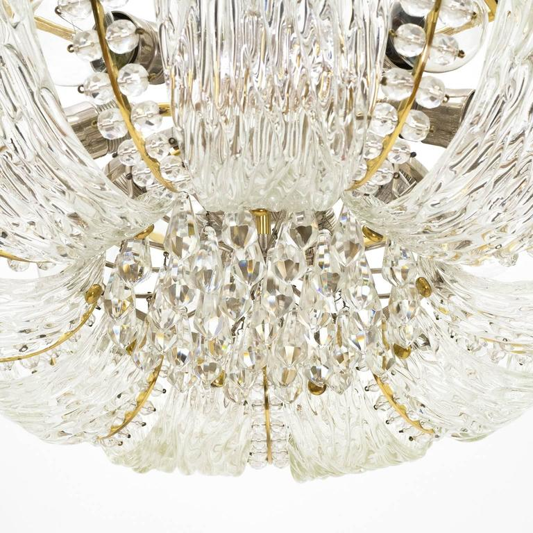Large Textured and Crystal Glass Chandelier by J.T. Kalmar 6