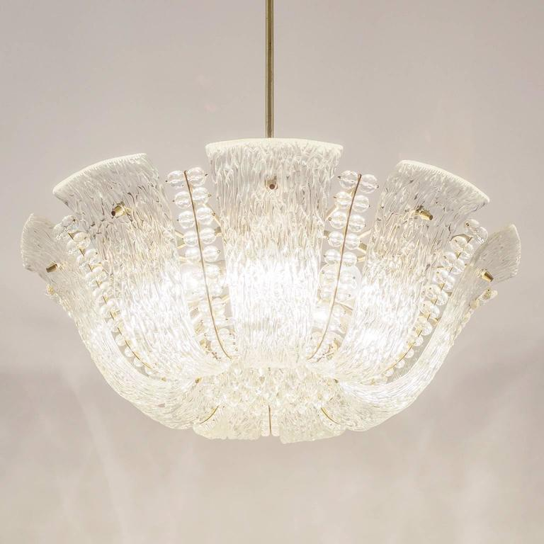 Large Textured and Crystal Glass Chandelier by J.T. Kalmar 8